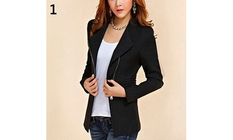 Candy Color Long Sleeve Women Zipper Blazer Suit Slim Casual Jacket Coat Outwear
