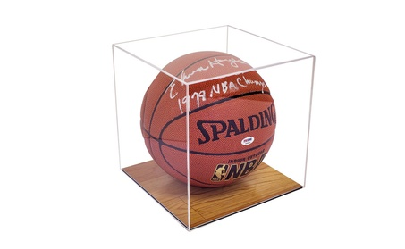 Full Size Basketball Display Case with Simulated Wood Floor 8a3d3364-f9d2-428e-8d4f-c6913b5b60d5