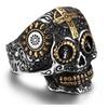 Skeleton Biker Skull 316L Vintage Cool Cross Ring