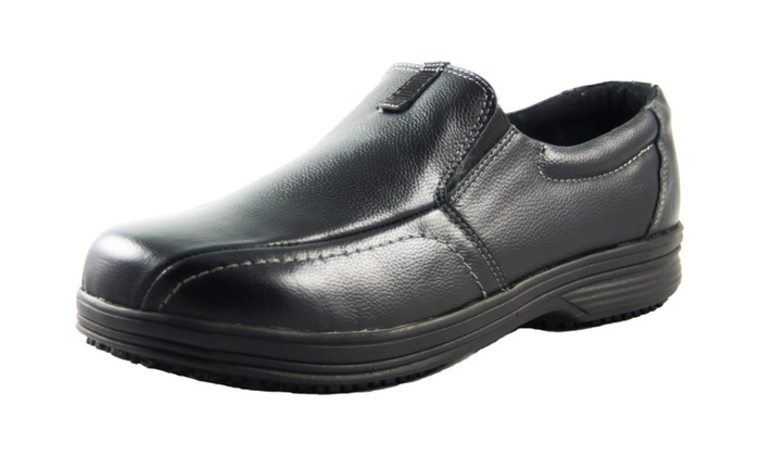 Men's Slip and Oil Resistant Slip On Leather Shoes for Work