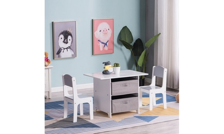 3 Pcs Wood Children Kids Table and Chair Set with Storage