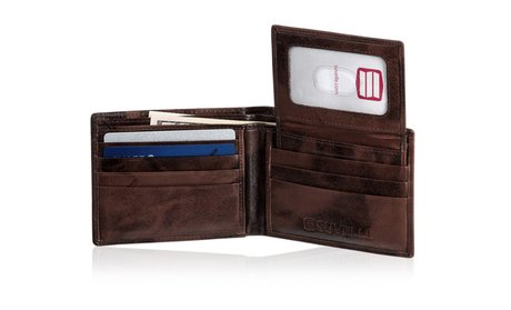 Suvelle Men's Cow Leather Bifold Wallet Removable Flip up ID Window #