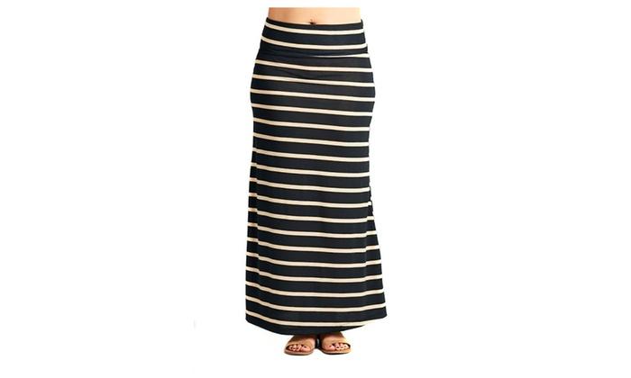 Black Striped Fashion Knit Fold Over Plus Size Maxi Skirt