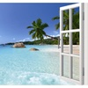 Coconut Tree Ocean Beach 3d Fake Windows Wall Sticker
