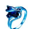 Vintage Punk Design Blue Gold Filled WeddingUnisex Ring