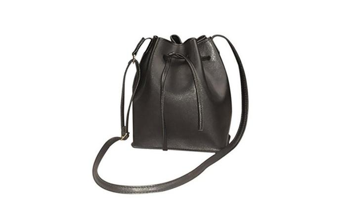 Women's Leather Bucket Bag Crossbody Messenger Shoulder Bag