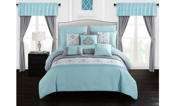 Barrett 20 Piece Comforter Set Color Block Floral Embroidered- Sheets Included