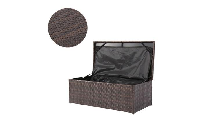 ... Kinbor Outdoor Patio Wicker Storage Box Garden Resin Bin Organizer ...