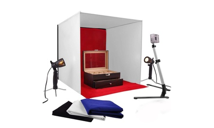 12in Mini Photo Studio Photography Light Kit w/ 4psc Backdrop&Camera Tripod Was: $49.00 Now: $24.99