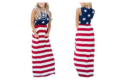 Womens American Flag Striped Empire Waist Sleeveless Tank Maxi Dress 50e4a5c7-b841-4fd0-893c-a77f98c7f5c7