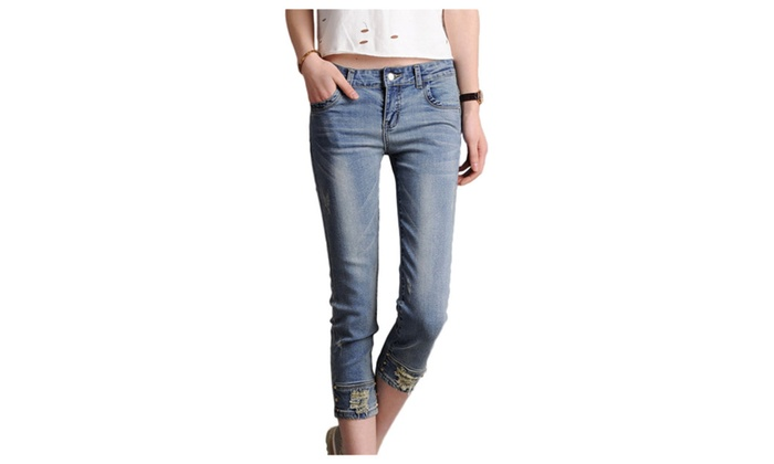 Women's Casual Wash Cotton 3/4 Length Skinny Jeans