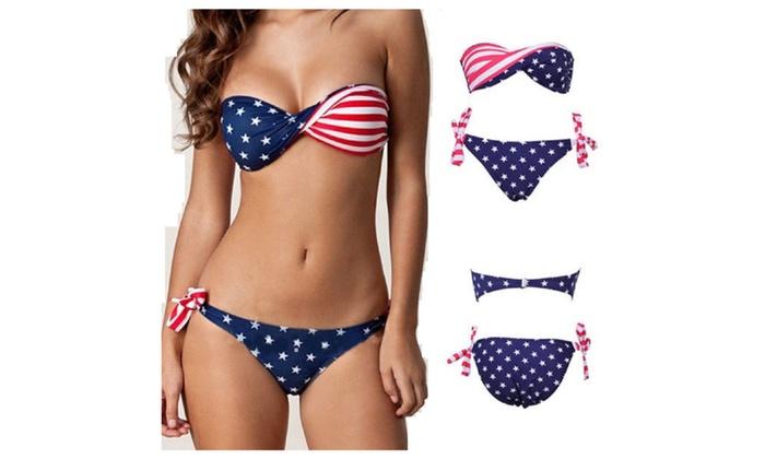Stars & Stripes USA Padded Twist Bandeau Bikini Swimsuit