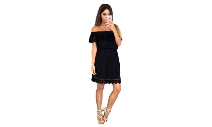 floralstyle: Lace Trim Off Shoulder A-Line Dress