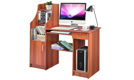 Computer Study Desk Laptop Table Writing Workstation W/Bookshelf Home Office New