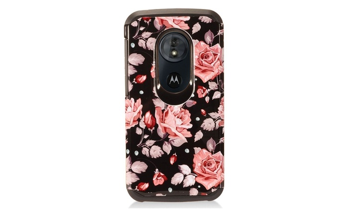 Rose Dual Layer Hybrid PC Rubber Case Cover For Motorola