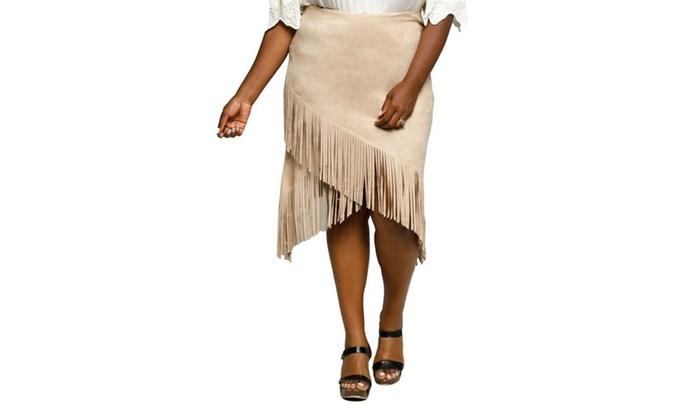 9d9fe1cf5cde6 Xehar Women s Plus Size Stylish Faux Suede Fringe Skirt