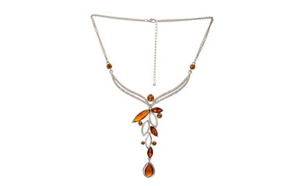 ROYAL MUGHAL - DEEP ORANGE TEAR DROP NECKLACE