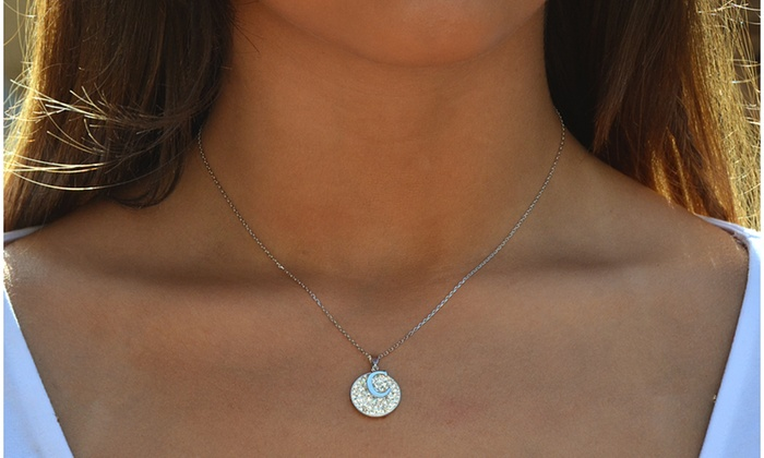 f2dc510d64459 Sterling Silver Disc Initial Necklaces with Swarovski Elements | Groupon