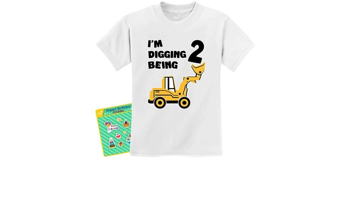 2nd Birthday Bulldozer Construction Party Toddler Kids T-Shirt 2 Years Old
