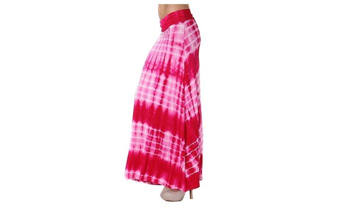 Womens Fuchsia Funky Tie Dye Foldable Waist Maxi Knit Skirt