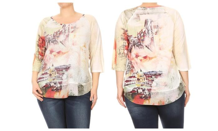 cfb24ad6645 Women Venice Cityscape Print Plus Size T Shirts Tops Tee Blouse 1X-3X ...