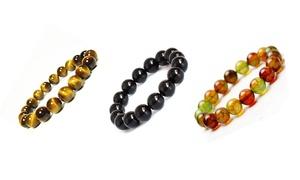 12mm Natural Tiger Eye Stone Simple Stretch Beaded Bracelet