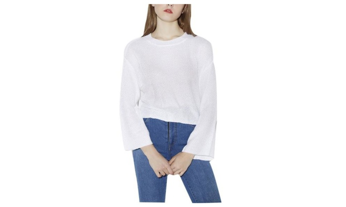 Women's Regular Fit Long Sleeve Simple Pullovers