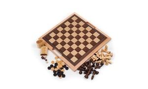 Deluxe Wooden 3-in-1 Chess, Backgammon, & Checker Set