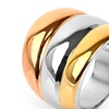 Stainless Steel Rose and Yellow Gold Plated Triple-band Dome Ring