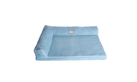 New Armarkat Model D08B Soothing Blue Medium Bolstered Pet Bed with Memory Foam