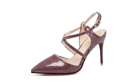 Women Shoes Cross Strap Back Zipper Stiletto High Heel Pumps 1f05338f-3ccc-42d1-9319-67d5b46292c9