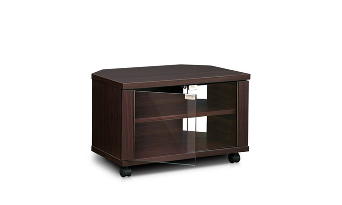 Furinno Indo 3 Tier Petite Tv Stand With Glass Doors And Casters