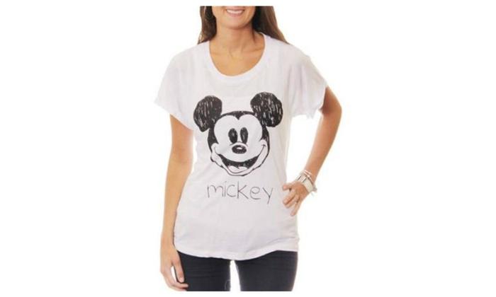 d8e180fc58 Disney Women s Mickey Mouse Sketch Hi-Lo Graphic T-Shirt