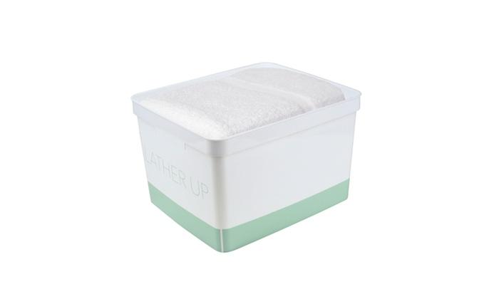 Simplify large lather up bathroom storage bin in spa for Blue bathroom bin