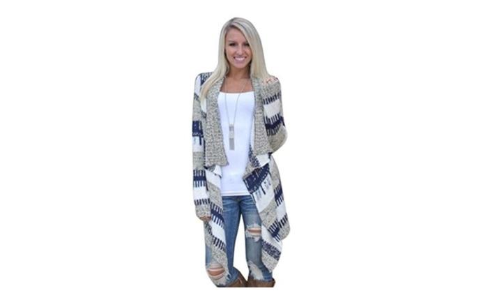 Women Cardigan Long Sleeve Knitted Sweater Outwear Loose Jacket Coat