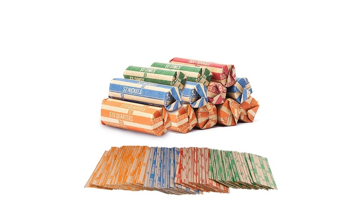 Coin Roll Wrappers 500 Count Bundle Of 125 Each Quarters Nickels