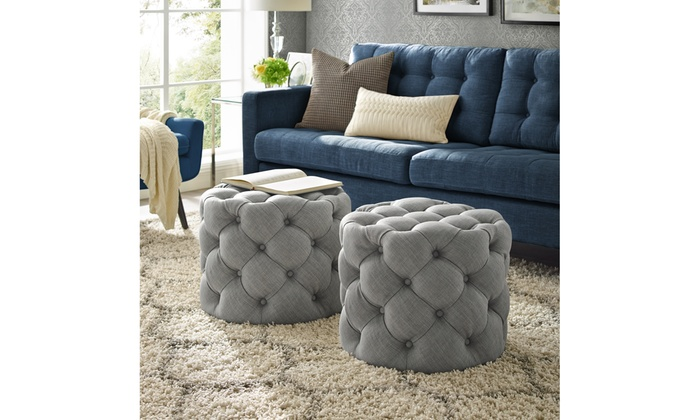 Enjoyable Jaime Velvet Or Linen Round Ottoman Allover Tufted Groupon Caraccident5 Cool Chair Designs And Ideas Caraccident5Info