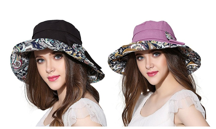 Women Wide Brim Sun Hat Summer Outdoor Foldable Beach Cap