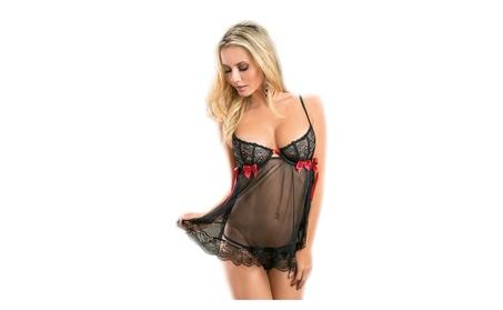 Plus Size Womens Sexy Sheer Lace Baby Doll Lingerie Set 11613aaa-6b6c-488a-a5dc-ad9bb25c7de0