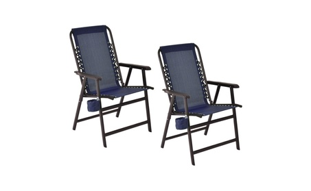 Costway Set Of Two Folding Outdoor Arm Chair Steel Frame W/ Cup Holder 088a31ce-fa67-4e1d-ad02-2341b8dff22b