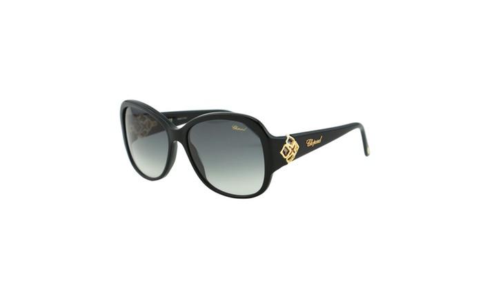 Chopard Imperiale SCH 131S 700 Women Black Oval Precious Sunglasses
