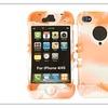Rocker Series Skin Case for Apple iPhone 4/4S (Orange/White Mixture)