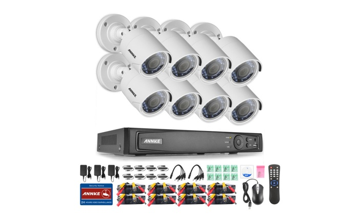 ANNKE 8CH Security DVR System 8Pcs 2MP Weatherproof Security Cameras