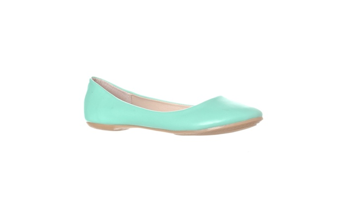 Riverberry 'Aria' Rounded Toe Ballet Flat Slip On, Mint PU