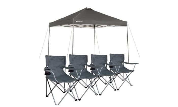 Ozark Trail Instant 10x10 Gazebo Canopy with 4 Chairs Bundle