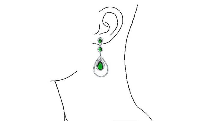 57e1078cd209a Simulated Emerald CZ Triple Teardrop Earrings Rhodium Plated Brass