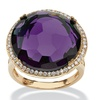 .27 TCW Simulated Amethyst and CZ 14k Gold-Plated Halo Cocktail Ring