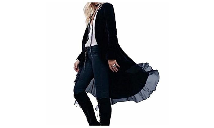Women's Ruffled Long Velvet Blazers Coat with Asymmetric Chiffon Hem