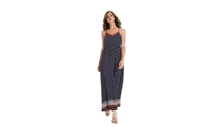 Harveys: Women V-neck Polka Dot Print Spaghetti Strap Boho Long Maxi Dresses