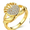 18K Gold Plated Micro-Pav'e Crystal Claddagh Ring - Two Options